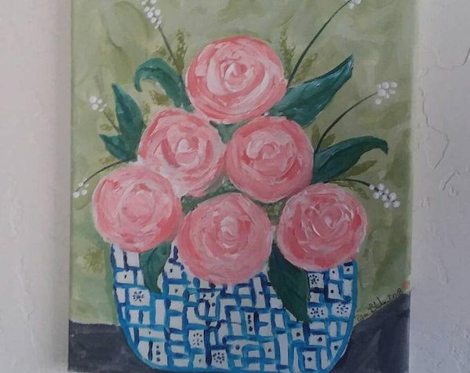 "Original Painting ""Peaches & Cream""  Abstract Acrylic / 9x12 Wall art/Home decor/ Floral  art/flower painting/Nursery art"
