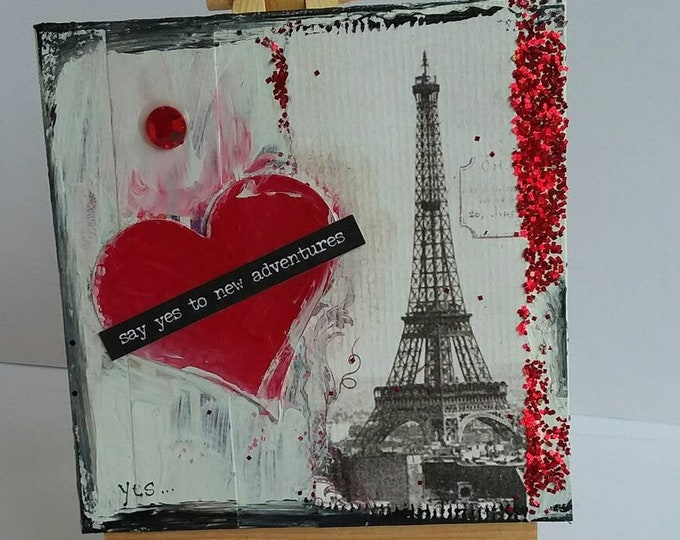 """Mixed Medium """" Say Yes"""" / 4x4 canvas with easel/ Proposal art/ Paris decor/ Travel/ Marriage/Engagement"""