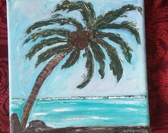 Palm Tree on the Beach / Original Acrylic Painting /6x6 Tropical Art/ Wall Decor/Ocean Art/ Hawaii