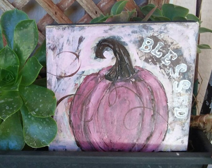 "Original ""Purple Pumpkin"" acrylic painting / 6x6 WOOD CANVAS/  home decor/fall  accent/Blessed/Thanksgiving art"