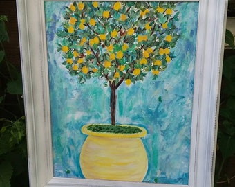 "FRAMED ""Lemonade Lemon Tree "" is original acrylic painting. 16x20. Abstract -Impressionist style/home decir /wall art/original art/kitchen"