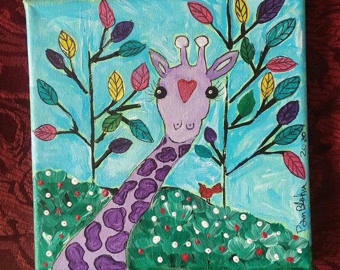 Original acrylic painting/ 6x6 Small Art / Abstract Giraffe / Zoo Theme Nursery Art / Wall Decor