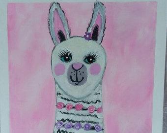 """Original acrylic painting """" Lacy the Llama"""" wall art/16x20 farmhouse art /home decor/office art/nursery art"""