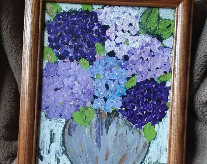 "Original "" Purple  Hydrangeas"" FRAMED Acrylic Floral - 8x10 Home decor/wall art/Flower painting/home decor /nursery art /office art"