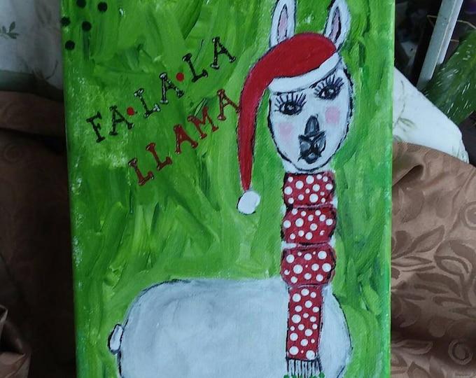 "CHRISTMAS Llama  ""fa la la llama"" original wall art - 7x14 holiday decor  - gift idea- llama lovers- farmhouse Llama art"