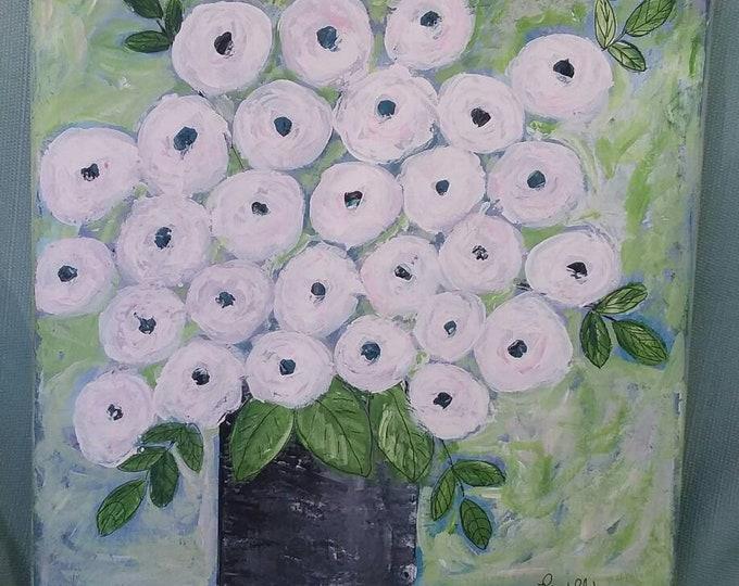 "Pretty  Floral ""Blush White & Pink Roses"" / 12x12 Original Acrylic painting. Bedroom art/nursery decor/office art/home decor/ Flower art"
