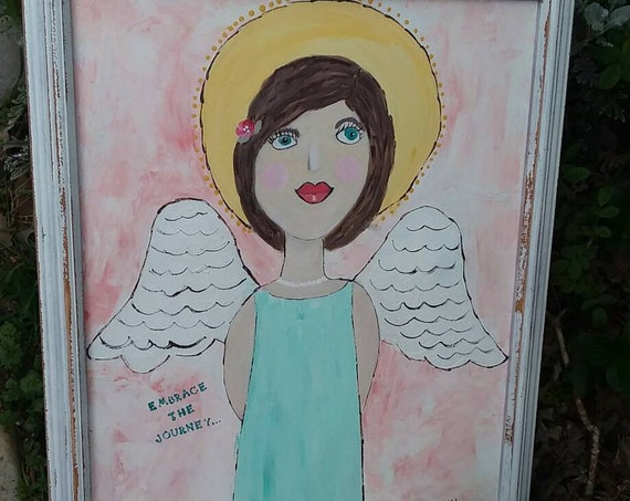 "FRAMED "" Embrace the Journey"" / Angel Original acrylic painting. 16x20 nursery decor/angel art/pastel colors/wall art/home decor/nursery art"