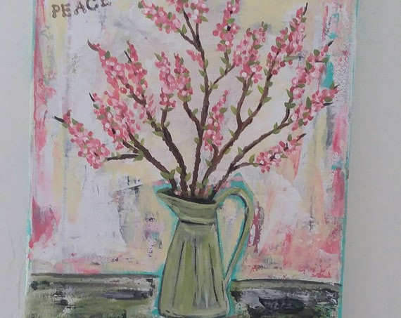 """Pretty Pink Floral  in Vintage """"Watering Can""""  8x10 Original Acrylic Painting  /  word art for PEACE  / Gardener gift idea"""