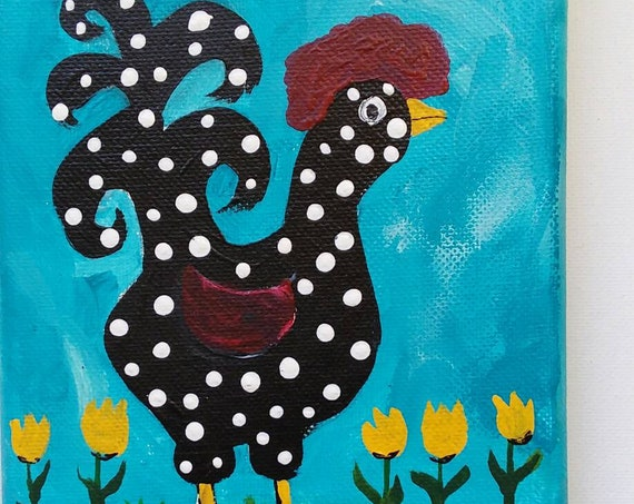 "Original Acrylic Painting - ""The Chicken Dance"" / 5x7 wall art /kitchen decor/nursery art /whimsical fun."