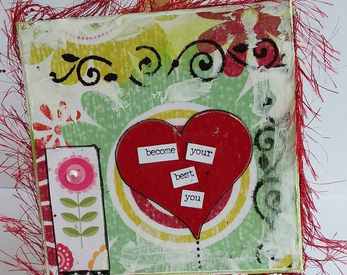 """Mixed Medium """"Become your best You"""" words of encouragement / 4x4 easel mixed media gift idea / home decor/ small art/cubicle decor"""