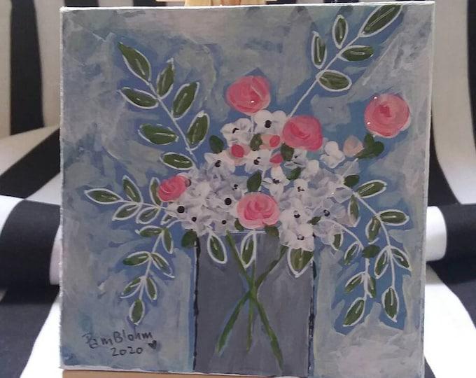 Original acrylic floral painting. 4x4 Small art canvas on easel. Shelf decor/cubicle art/home decor