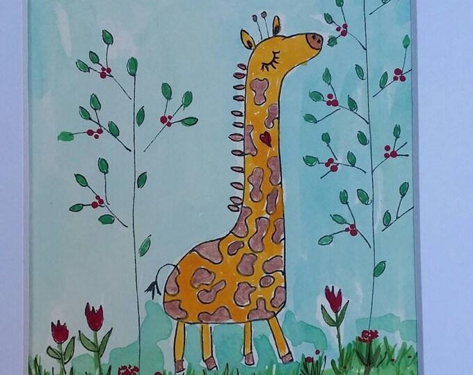 "Original Watercolor "" Bongo in the Blue Leaf Jungle"" 8x10 Giraffe artwork/ Nursery art/childroom decor/Gift idea"