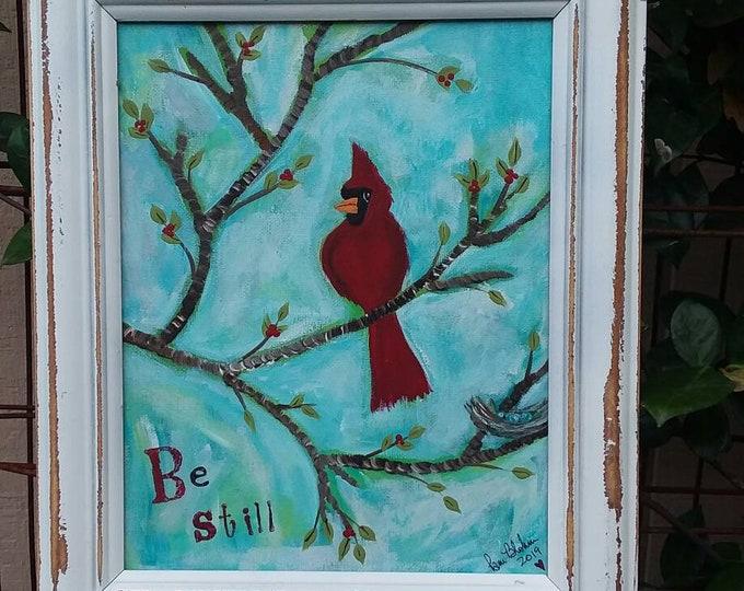 """Original  painting """"Be Still"""" / FRAMED Red Bird acrylic illustration /  8x10 Nursery art/ bedroom decor/home decor"""