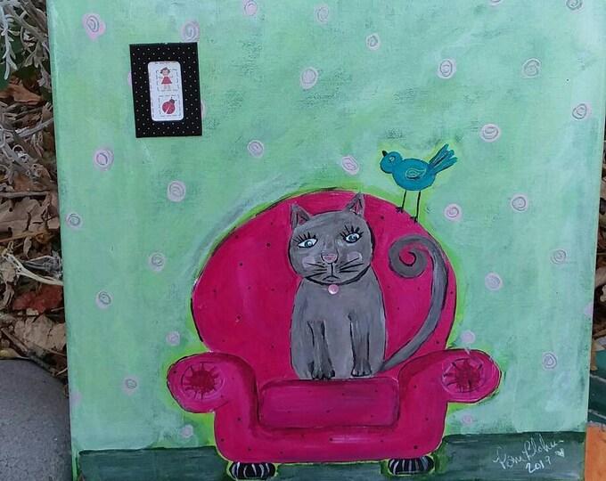 "Original acrylic painting ""Maxine the Cat "" 12x12 canvas wall art/cat art/bedroom art/bathroom decor"
