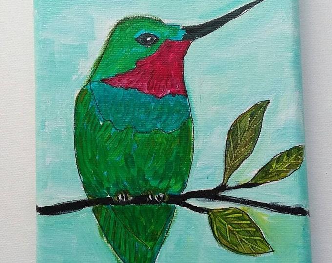 """Small Art Original """"Resting Hummer"""" / 5x7/birdwatcher/nature art/home art- Acrylic Painting"""