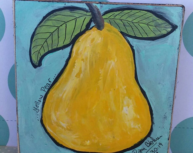 """Perfect  """"Yellow Pear"""". 4x4 abstract acrylic painting on wood.  Home decor/gift idea/cubicle decor/kitchen art/small art/cubicle art"""