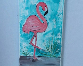 "Original Acrylic painting  "" Tropical Flamingo"" wall art.  Bathroom decor/nursery wall decor/bird art"