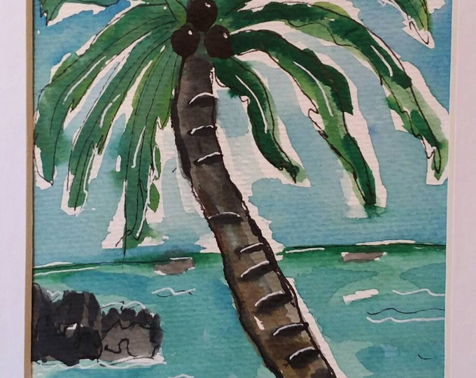 "Original Palm Tree art ""Hawaii Memories"" /  Watercolor & Ink  painting/Tropical wall art/Palm tree /island decor / 8x10 Matted painting."