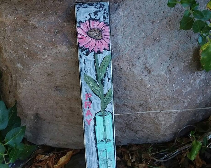 """Original """"Pink Pray"""" Acrylic painting on wood / floral wall art/ Country Decor/ Flower art"""