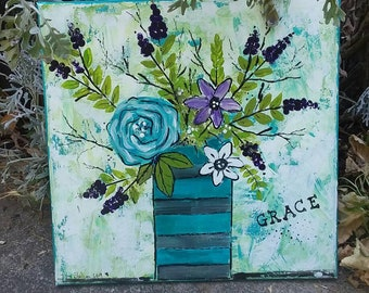 """Floral original """"GRACE"""" home decor-Abstract 12x12 acrylic painting-nursery art-Purple and Teal - Bedroom Wall art"""