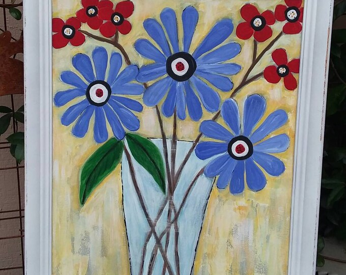 "FRAMED  Floral ""Sitting Pretty""/ Orginal Acrylic  painting / 16x20  Abstract Flower Art/ Nursery decor/ Wall Art/ Office Art"