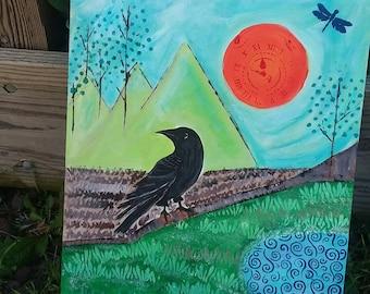 "Bird Art  ""Mountain Retreat"" - Black Raven Original  acrylic painting - Unique Wall Art - home or Office - 16x20 Surrealism art"