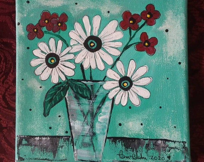 Abstract Original Acrylic Painting. 6x6 Floral Wall Art /Small Art Flower Decor/Teal and White