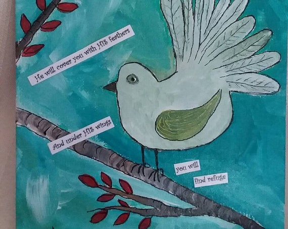 "6x6 illustration art ""Bird on a Limb""- Psalms 91:4 / original acrylic mixed medium painting/home decor/gift idea/nursery art/small art"