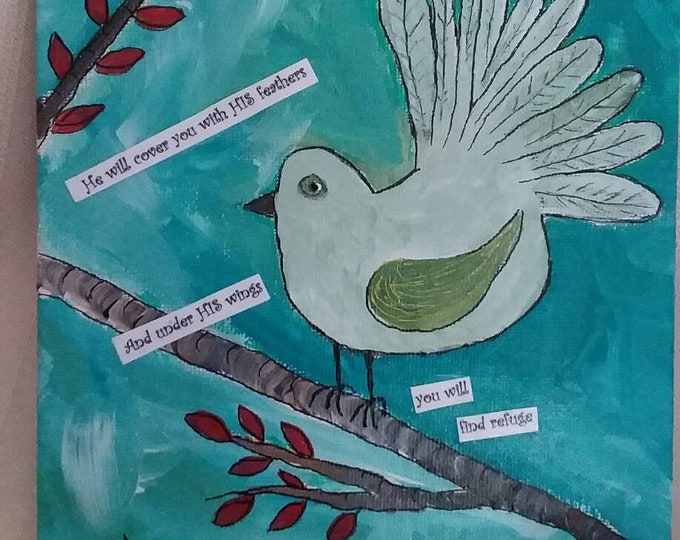 "6x6 illustration art ""Bird on a Limb""- Psalms 91:4 / original acrylic mixed medium painting/home decor/gift idea/nursery art/small art"