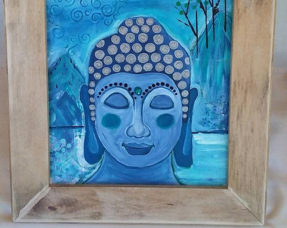 "Original ""Blue Buddha on Retreat"" / Abstract Acrylic Painting /Framed  11x14 Canvas /Buddha art/Buddha Painting/Namaste/Buddhism/Tibetan"