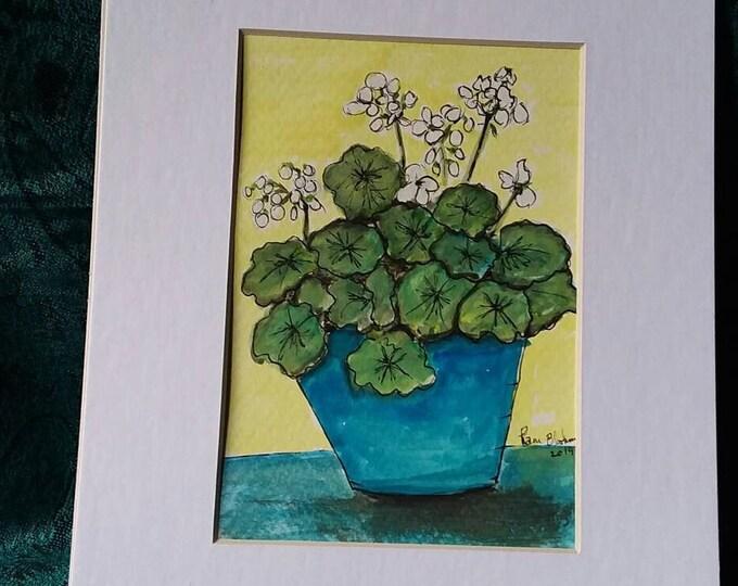 "Watercolor & Ink ""Bianca "" Blue potted White geraniums Original / Matted 8x10 / Home decor/ garden art/bathroom art/nursery art/original art"