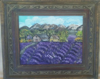 "Framed ""The Lavender Farm"" Original painting / Farmhouse  Decor/Lavender Art/ Acrylic 11x14 / Folk art style/wall art/"