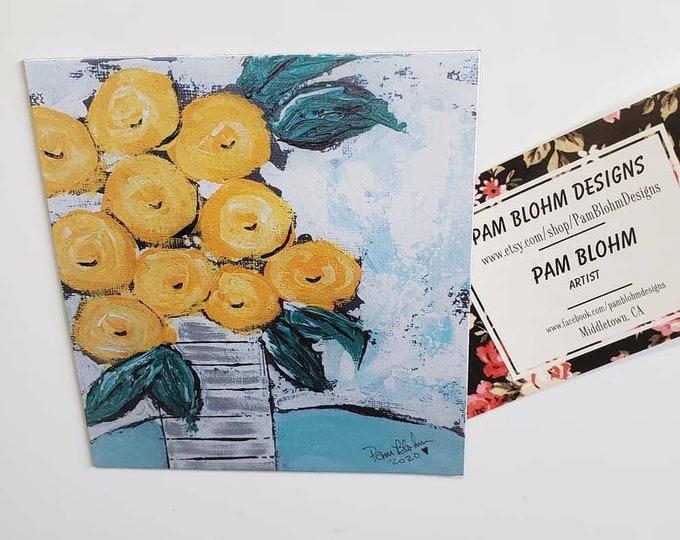 "Art MAGNET ""Floral Bouquet"" small art kitchen decor /flower art gift idea /Birthday flowers /made in USA"