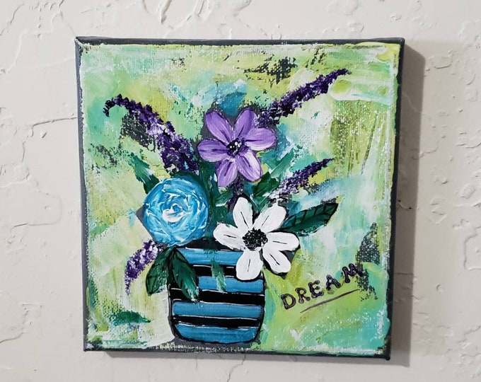 "6x6 original acrylic small art painting / "" Dream  Time"" Wall Art/ Home Decor/ Gift Idea/ Dream"