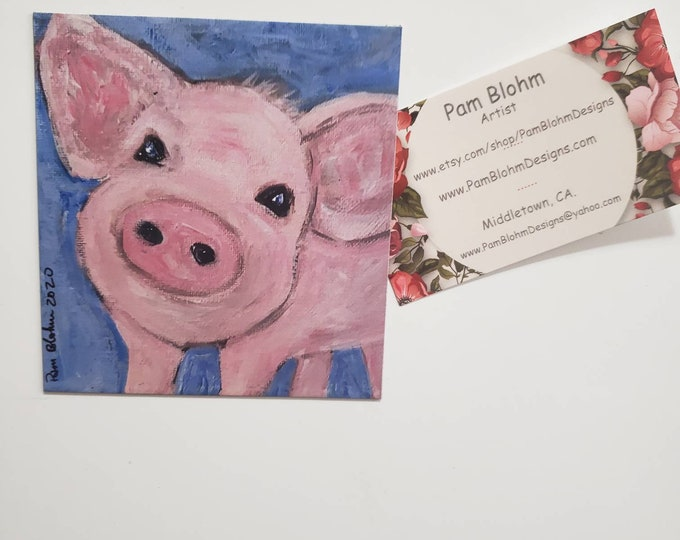 """Refrigerator magnet/ """"pink pig""""  artist print /Made in the USA"""