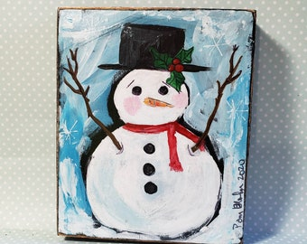 Small art original Snowman painting on  wood .