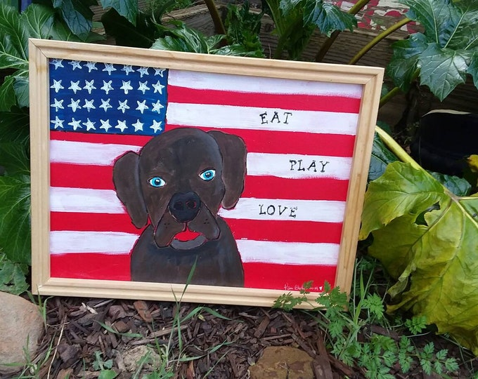 """Framed Abstract  """"All American Dog"""" Original acrylic painting. 12x16 Eat, Play, Love.  Wall art /home decor/Pet lover"""