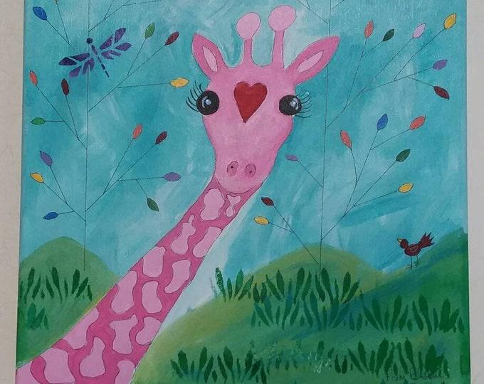 "Original acrylic painting/ 'Gigi the Giraffe"" 12x12 Wall art/Nursery Decor/ Home art/Childsroom art/ Whimsical/ Office fun/Zoo theme"