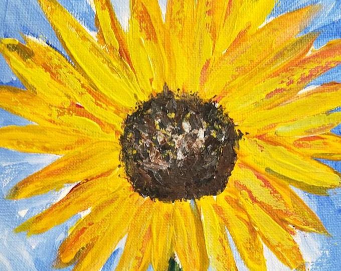 "Original abstract acrylic painting/ ""Summer Sunflower"" /12×12 wall art /Floral painting / Flower art"
