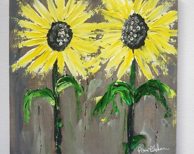"Original ""Sweet Sunflowers "" Acrylic Painting / Nearly 8x8 inch Wood Canvas"