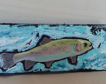 "Abstract ""Brook Fish"" painting. 4x10' original acrylic painting on wood .Man art/Fathers day/Man room/Fishing art/Father's Day/gift idea"