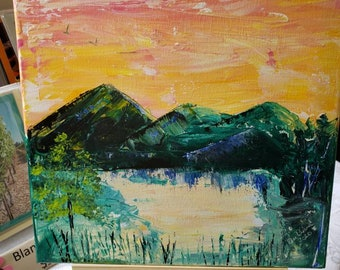 "Original acrylic painting/Abstract Landscape 12x12 /""Mountain Sunset "" /Wall art / Home decor"