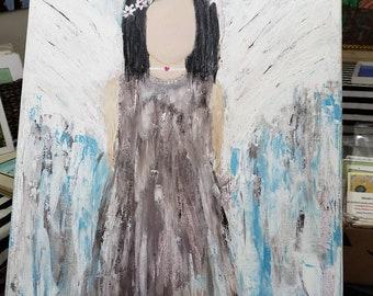 "Original Acrylic Painting /18x24 Boho hippie angel ""Moon Child"" Teen room art / Bohemian art/gypsy decor/spirit art/native american"