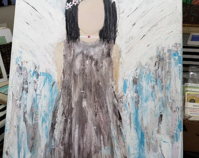 "Original Acrylic Painting /18x24 Boho hippie angel ""Moon Child"" Teen room art / Bohemian art/gypsy decor/spirit art/native american"