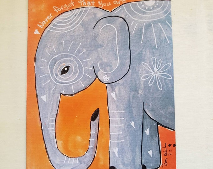 "Art MAGNET "" Never forget you are loved"" words of encouragement /elephant art /gift idea / made in USA / small art 3.50 x 4.75"