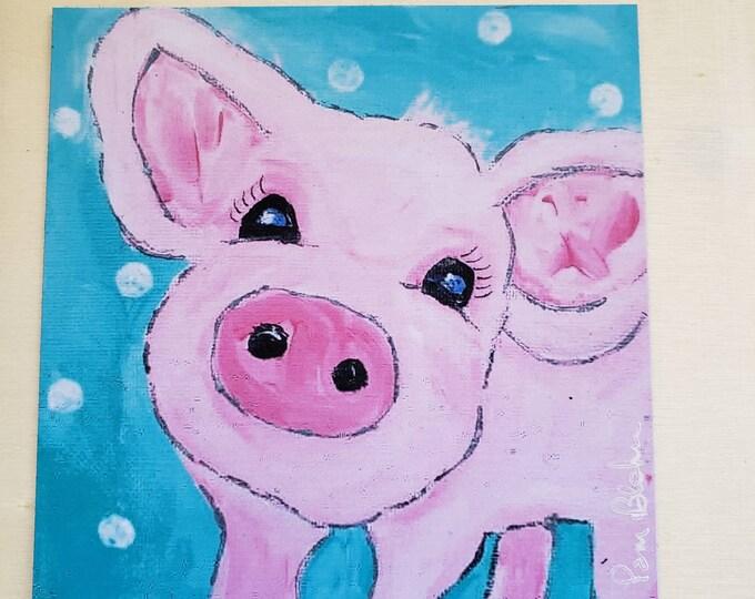"Artist MAGNET "" Petunia Pig"" / 3.75 x 3.75 inch"