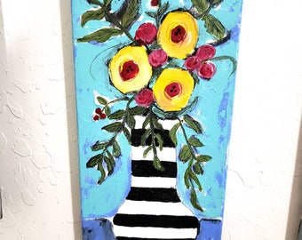 "Pretty Flowers in a vase /  original acrylic  painting ""It's a Carnival "" /    Wall art / 7x14 Bedroom decor/Nursery art"