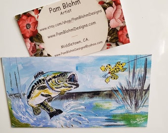 "Large Mouth Bass Fish Artist Magnet , from original acrylic painting 2.75"" x5.5"""