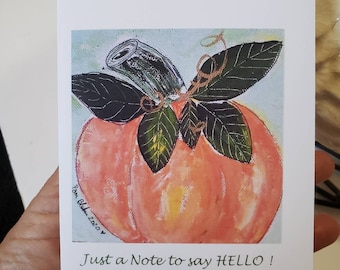 "Blank note card set of 5 /   Pumpkin painting/""Just a note to say Hello"" / gift packaged fall greetings /shipping and self seal envelopes."