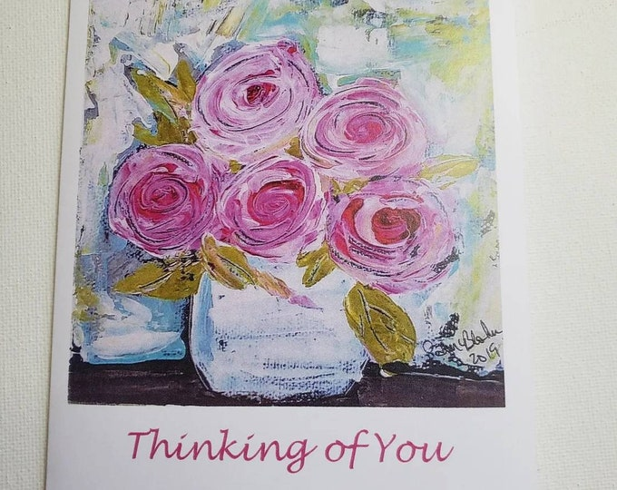 Thinking of You Pink Floral Notecard Set / 5 card gift set includes self adhesive envelopes